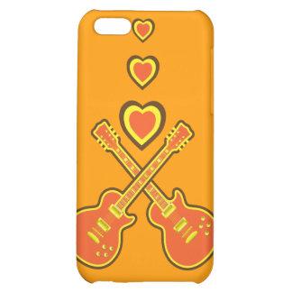 Naranja enrrollado, amarillo y guitarras y corazon