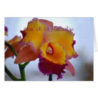 Naranja feliz hawaiano Cattleya del día de madre Tarjeta De Felicitación