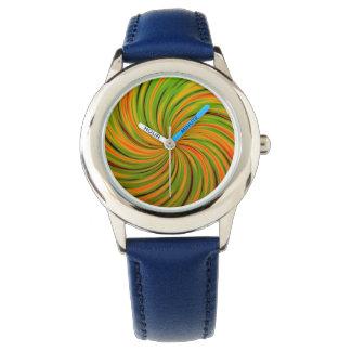 Naranja feliz, verde (c) relojes
