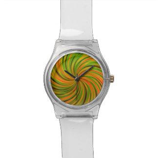 Naranja feliz, verde (c) relojes de pulsera
