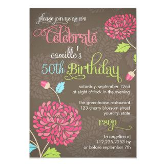Naranja floral moderno y fiesta de cumpleaños de invitación 12,7 x 17,8 cm