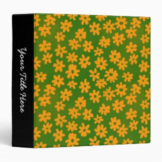 """Naranja floral y verde del estilo del batik (el carpeta 1 1/2"""""""