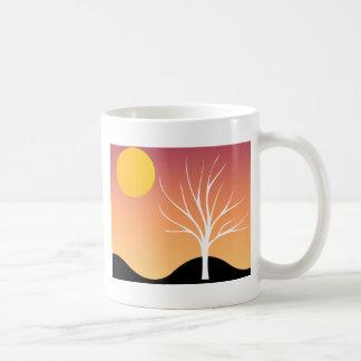 Naranja fresco/negro de la silueta de la escena/de taza de café
