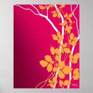 Naranja fucsia de la mandarina de las flores de póster