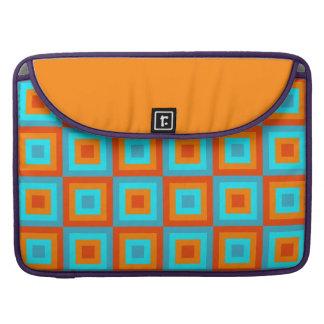 Naranja geométrico de la turquesa del color de los fundas para macbooks