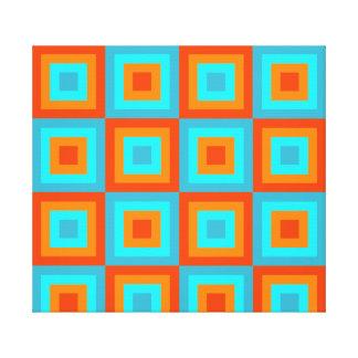 Naranja geométrico de la turquesa del color de los lienzo envuelto para galerías