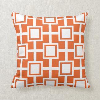 Naranja geométrico de moda de la rejilla el | de cojines