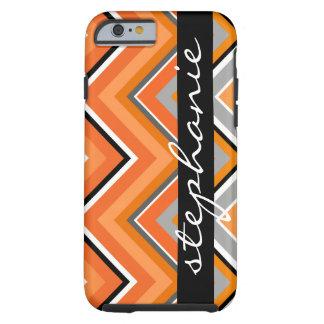 Naranja gris de Chevron del negro elegante del Funda De iPhone 6 Tough