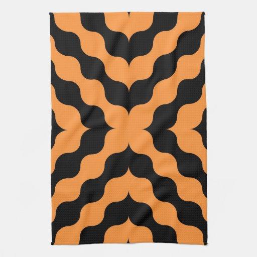 Naranja, inconsútil retro del negro toalla de cocina
