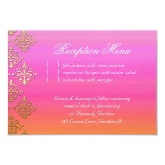 "Naranja indio del rosa del damasco de la tarjeta invitación 3.5"" x 5"""