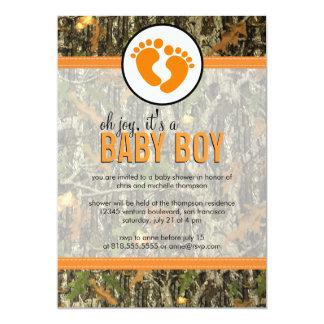 Naranja - invitación de la ducha del bebé de Camo