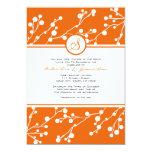 Naranja, invitación floral blanca del boda del invitación 12,7 x 17,8 cm