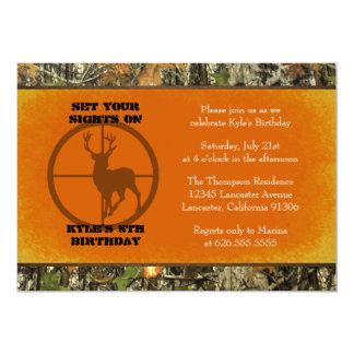 Naranja - invitaciones del muchacho del cumpleaños invitación 12,7 x 17,8 cm