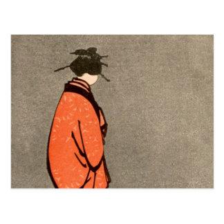 Naranja japonés de la mujer del kimono del vintage tarjeta postal