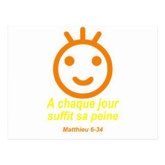 Naranja Jaune de Matthieu 6-34 Smilley Tarjeta Postal