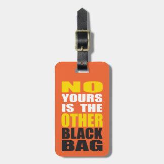 Naranja la otra etiqueta negra del equipaje del bo etiquetas de maletas