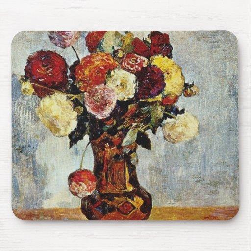 Naranja las dalias, flores de Paul Gauguin Tapete De Raton