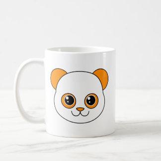Naranja lindo de la panda taza básica blanca
