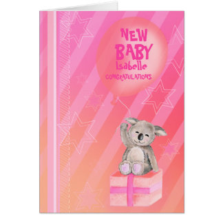 Naranja lindo del rosa de la tarjeta de la koala