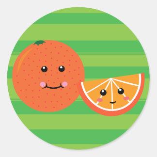 Naranja lindo pegatinas redondas
