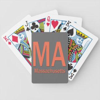 Naranja llano del mA Massachusetts Baraja Cartas De Poker