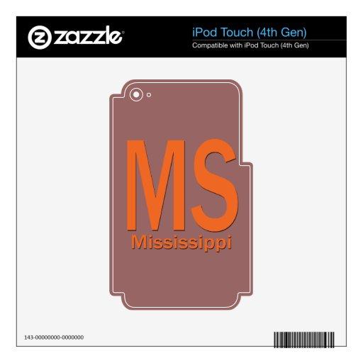 Naranja llano del ms Mississippi Calcomanías Para iPod Touch 4G