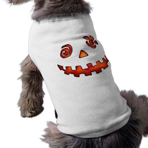 Naranja loco de la cara de la calabaza de la linte camiseta de perro