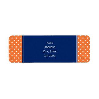 Naranja, lunar blanco con el azul real etiqueta de remitente