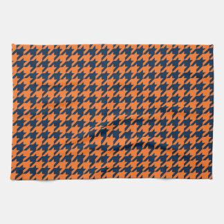 Naranja/marina de guerra Houndstooth Toalla De Cocina