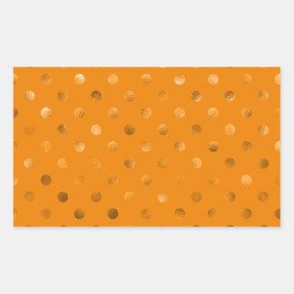 Naranja metálico del lunar de la hoja del oro de pegatina rectangular