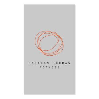 Naranja mínimo y moderno del logotipo del garabato tarjetas de visita