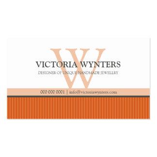 Naranja moderno elegante del monograma de la tarjetas de visita