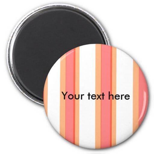 Naranja moderno y rayas transparentes rojas imán redondo 5 cm
