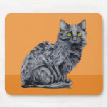 Naranja Mousepad del gato negro Alfombrilla De Ratones