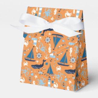 Naranja náutico del océano caja para regalo de boda