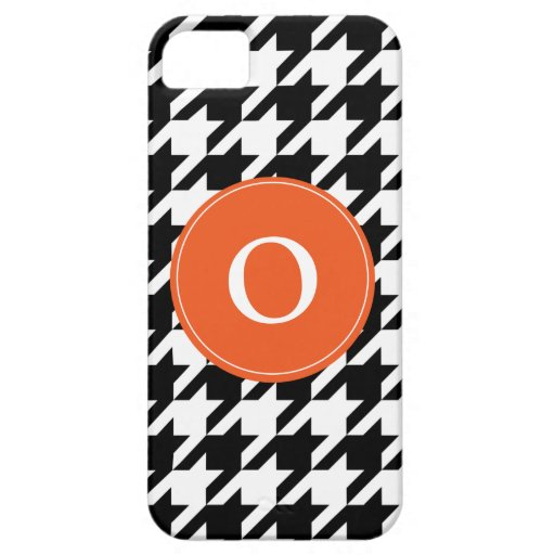 Naranja negro y blanco del modelo de Houndstooth, iPhone 5 Funda