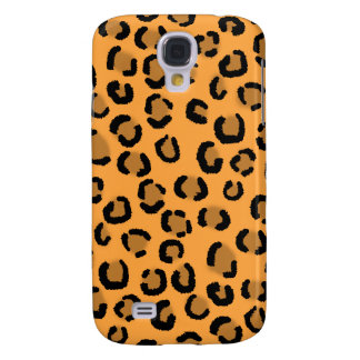 Naranja, negro y leopardo Pern. de Brown Funda Para Galaxy S4