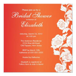 Naranja nupcial floral elegante de la invitación