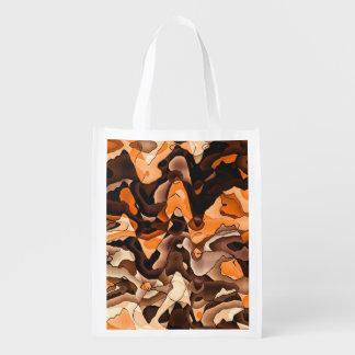 Naranja ondulado y marrón bolsa reutilizable