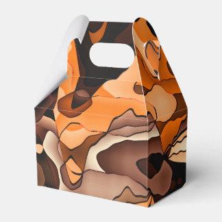 Naranja ondulado y marrón cajas para detalles de boda