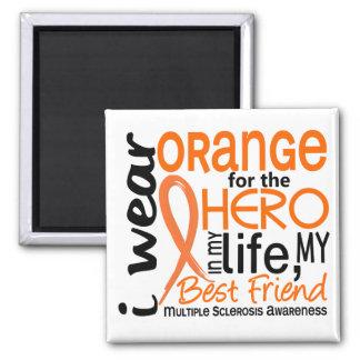 Naranja para el ms del mejor amigo del héroe 2 imán cuadrado