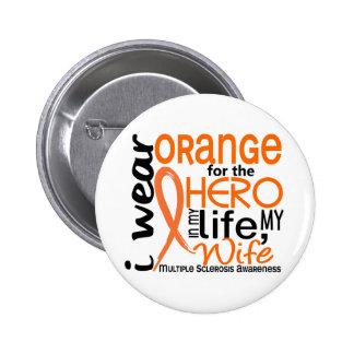 Naranja para la esclerosis múltiple del ms de la e pin redondo de 2 pulgadas