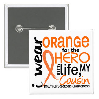 Naranja para la esclerosis múltiple del ms del pri pin cuadrado
