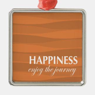 Naranja para la felicidad adorno navideño cuadrado de metal