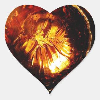 Naranja Pegatina De Corazón