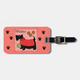 Naranja personalizado nombre negro del perro de etiquetas para equipaje