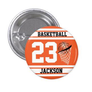 Naranja personalizado y blanco del baloncesto pin redondo de 1 pulgada