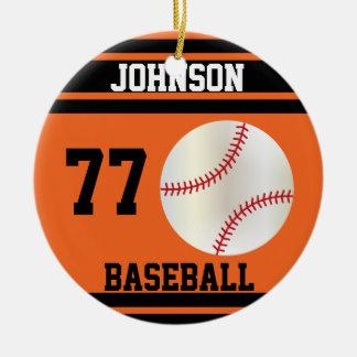 Naranja personalizado y negro del béisbol el | adorno navideño redondo de cerámica