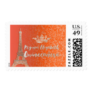 Naranja/plata/Eiffel/Quinceanera de PixDezines Estampillas