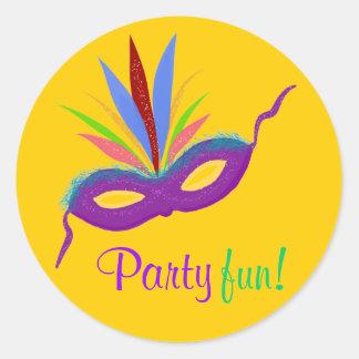 Naranja púrpura de la diversión del fiesta del etiqueta redonda